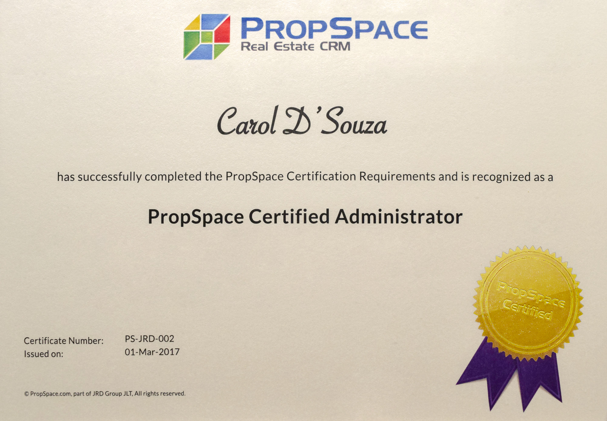 PropSpace Certificate